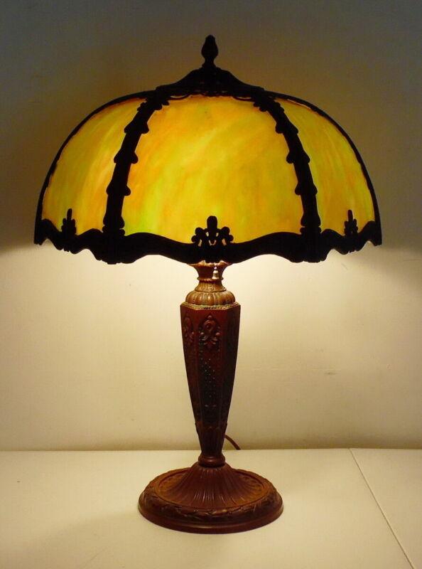Antique Art Nouveau Salem Brothers Lamp Co Green Slag Glass 6 Panel Lamp