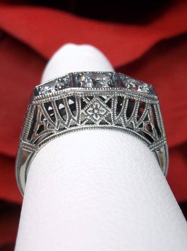 White CZ 3Gem Sterling Silver Ring/Art Deco Lattice Filigree [Made To Order]#210