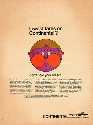 1960's Vintage ad for CONTINENTAL Airlines` Cute Art` (030614)