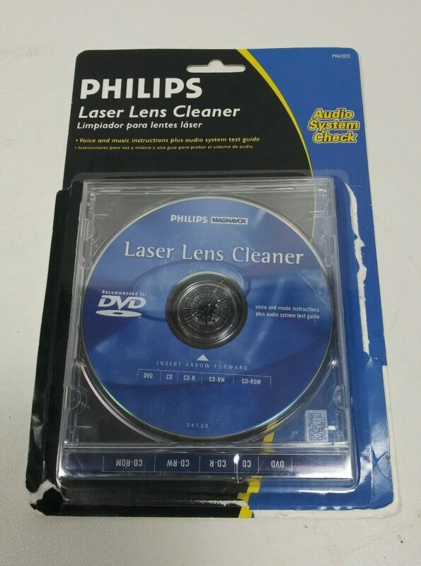 Philips Laser Lens Cleaner Disc Recommended for DVD CD CD-R CD-RW CD-ROM