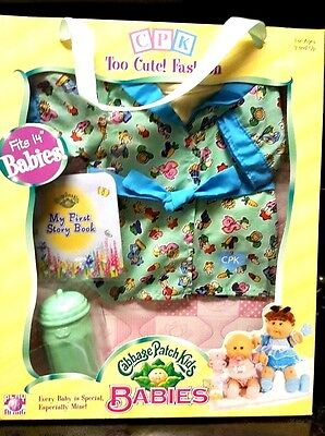 "CABBAGE PATCH KIDS Babies 14"" Doll Clothes NEW OUTFIT W/Baby Bottle Book"