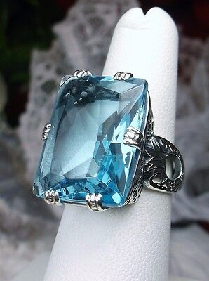 30ct *Aquamarine* Art Deco 1930's Revival Sterling Silver Filigree Ring Size: 9