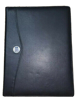 Pga Tour Black Leather Padfolio Letterpad Note Pad Portfolio Folder Cover Euc