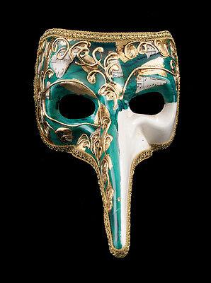 Mask from Venice Musica-Gala Venetian Nasone Long Nose Carnival Green 1536 VG20
