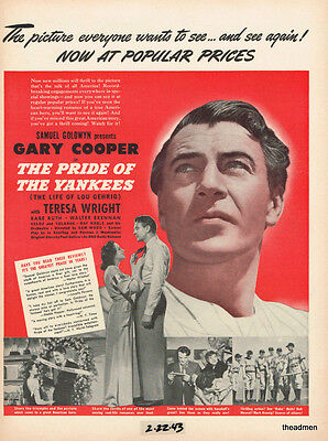 """1943 GARY COOPER in """"THE PRIDE OF THE YANKEES"""" LAMINATED MOVIE AD ART"""