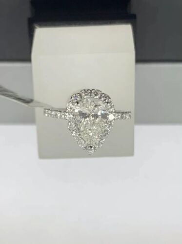 GIA Certified 18k White Gold Ladies Engagement Ring 1.36 Ct Brilliant Pear Shape 1