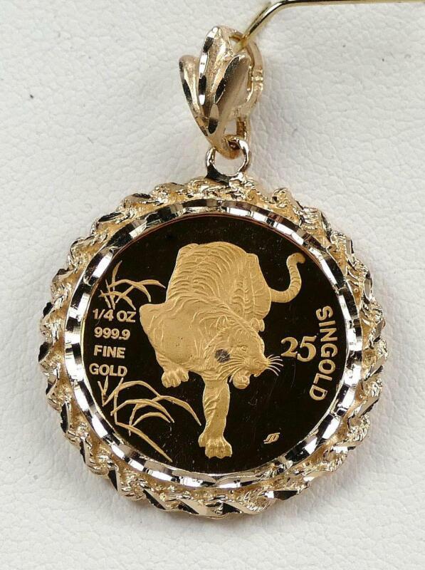1986 Singapore 25 Singold PROOF 1/4 oz 999.9 Gold Coin In Diamond Cut 14K Bezel!