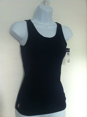 Ralph Lauren Girls Tank Top Navy Blue Ribbed Sm Pink Logo Size L (12-14) NWT