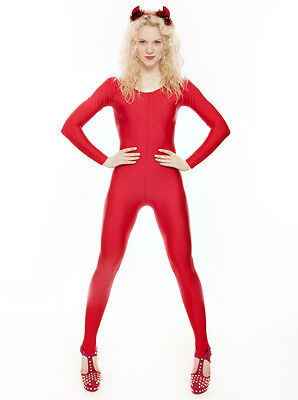 Red Dance Halloween Devil Fancy Dress Unitard Catsuit Costume Outfit KDC012 Katz - Devil Leotard Costume