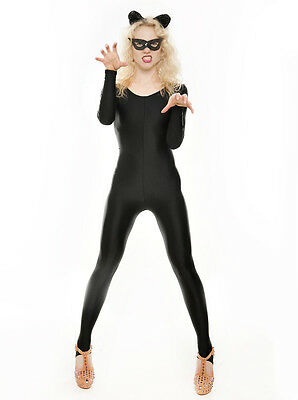 Fancy Dress Halloween Cat (Black Shiny Dance Halloween Cat Women Witch Fancy Dress Unitard Catsuit)