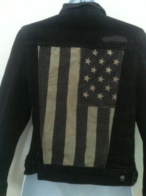 Polo Ralph Lauren Boys Black Denim Jacket American Flag Tattered