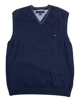 Tommy Hilfiger Mens Navy Blue 100% Cotton Sweater Vest Size Large