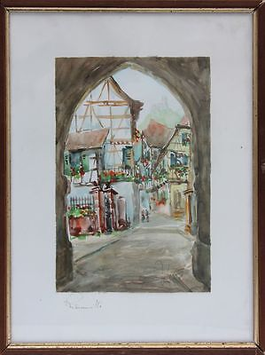 Alfred Doll (1911 - 1981) - Ribeauville (Alsace) Aquarell