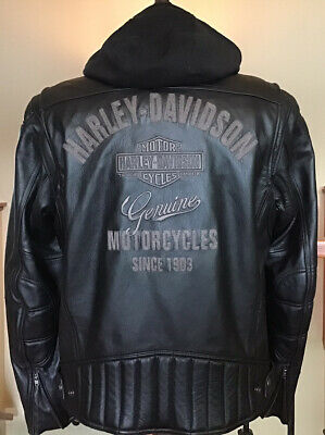 HARLEY DAVIDSON Men's Size LARGE Leather Racing Jacket W/ Zip-out Hoodie Liner