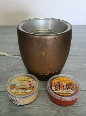 Yankee Candle Scenterpiece Centerpiece Wax Warmer Autumn Fall Leaves & 2 Cups