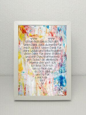 GRAFIK Poster Druck *FÜR MAMA*, DIN A4, mit Herz Geschenk Muttertag Print BUNT
