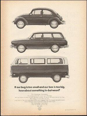 1971 Vintage ad for Volkswagen`retro car Photo three styles (021417)