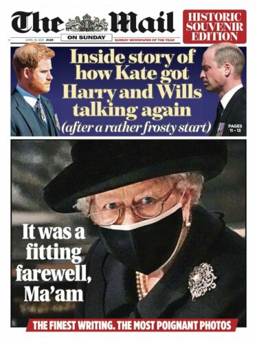 DAILY MAIL Newspaper 18 April 2021 PRINCE PHILIP FUNERAL HISTORIC SOUVENIR EDIT