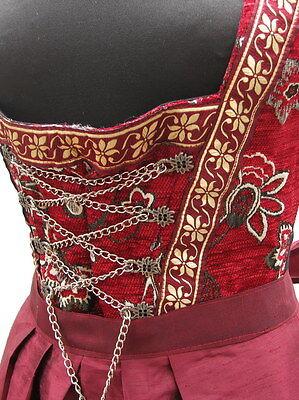Dirndl schwarz rot bordeaux Oktoberfest Kostüm Kleid mit Schürze Trachten - Mieder Baumwolle Kostüm