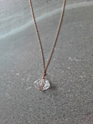 Gold Wrapped Pendant - Herkimer Diamond Wire Wrapped Pendant Necklace Silver, Gold, Rose Gold, Copper