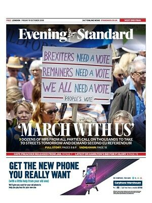 Evening Standard Newspaper - London Brexit March/Protest - 19 OCTOBER
