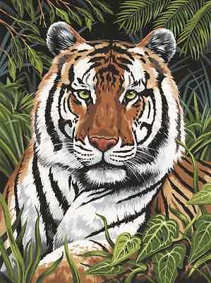 Dschungel Tiger Im Versteck Vergrößerung Malen A4 Sie nach Zahlen & Pinsel PJS75