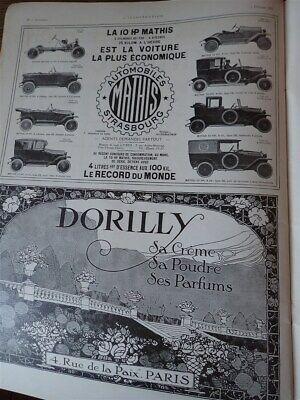 MATHIS 10 HP automobile + parfum DORILLY publicité papier ILLUSTRATION 1921