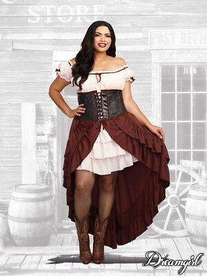 Dreamgirl Saloon Gal Western Adult Plus Size Womens Halloween Costume 11134 - Saloon Gal Costume
