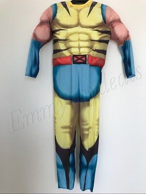 Kids Boys Muscle Chest Wolverine Halloween Costume Large 8-10 Yrs  jumpsuit mask](Wolverine Child Costume)
