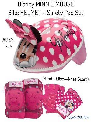 Girls Minnie Mouse BIKE HELMET+GLOVES+ELBOW+KNEE PAD SET Sco