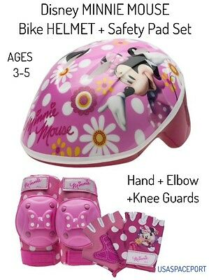 7pc Minnie Mouse BIKE HELMET +GLOVES +ELBOW+KNEE PADS SET Scooter Skates Toddler