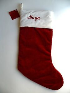 Pottery-Barn-RED-VELVET-White-Cuff-Christmas-Stocking-w-the-name-ALICYA-New