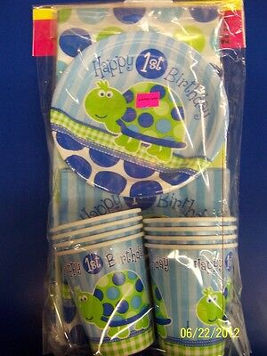 Turtle Happy 1st Birthday Cute Blue Kids Birthday Plates Napkins Cups Party Pack