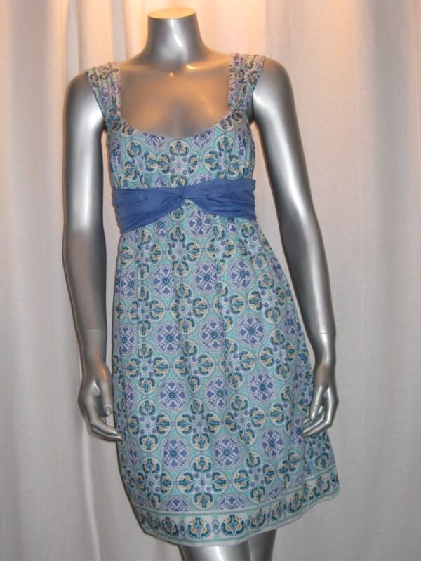 $128 MSSP MAX STUDIO Scoop Neck White/Blue Print Cotton/Silk Dress sz M NWT