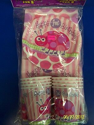 Ladybug Happy 1st Birthday Pink Kids Birthday Plates Napkins Cups Party Pack