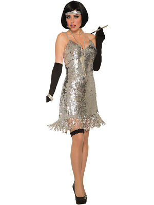 70s Silver Sequin Disco Dress Womens Costume](70s Costume For Women)