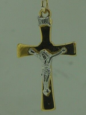 BEAUTIFUL VINTAGE 14K YELLOW & WHITE GOLD FILLED CRUCIFIX CROSS NECKLACE! 14k Gold Filled Crucifix Necklace