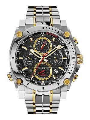 Bulova Precisionist Men's 98B228 Chronograph Black Dial Two-Tone 46.5mm Watch