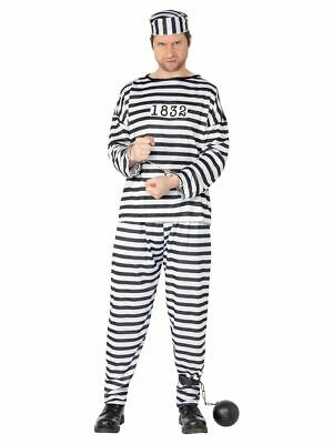 Men's Prisoner Convict Cops And Robbers Stag Night Party Fancy Dress Costume