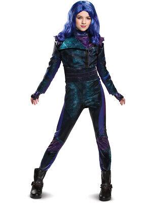 Childs Girl's Deluxe Disney Descendants 3 Mal Costume With Wig Bundle