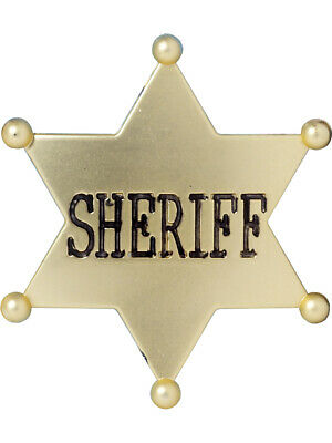 Deluxe Wild West Cowboy Costume Accessory Gold Sheriff Badge - Wild West Cowboy Costume