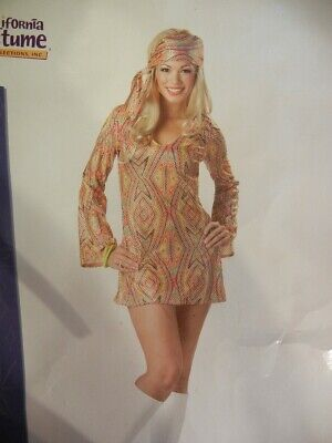 SEXY DISCO HIPPY GIRL DRESS HALLOWEEN COSTUME - FANTASY OUTFIT - SIZE: L