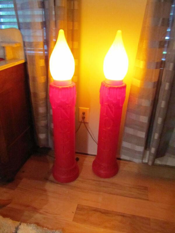 "Vintage DAPOL Set of 40"" NOEL Christmas Candlesticks Yard Decor"