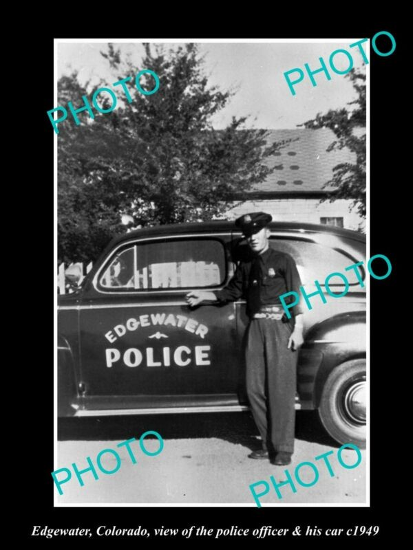 OLD 8x6 HISTORIC PHOTO OF EDGEWATER COLORADO THE POLICE DEPARTMENT CAR c1949
