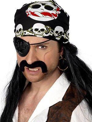 Pirate Bandana Costume Headscarf Black Skull and Crossbones Head Scarf Bandanna  (Pirate Scarf)