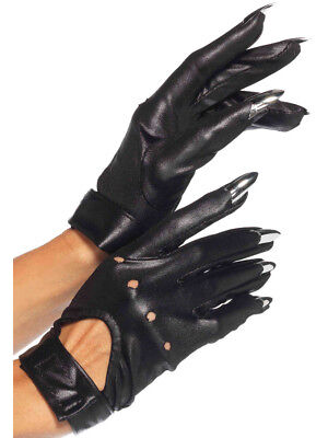 Cat Claws Costume (Adult's Black Sexy Motorcycle Cat Claws Fingernail Gloves Costume)