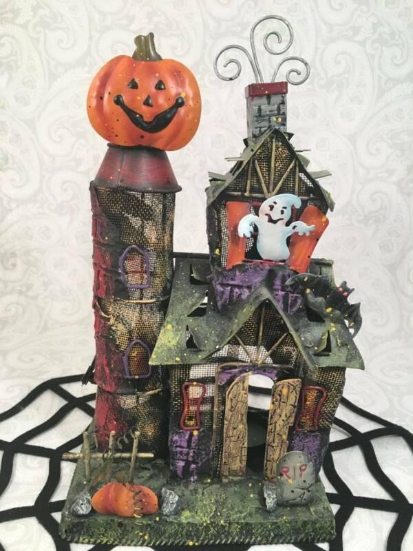 Halloween Metal Tea Light Haunted House Candle Holder Table Decor Pumpkin Ghost