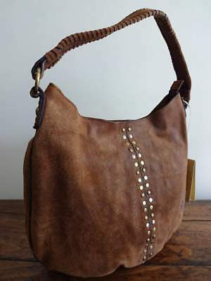 PATRICIA NASH BELLO Cognac BROWN BURNISHED SUEDE Italian SHOULDER HOBO BAG Burnished Cognac