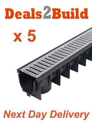 5 x Drain Channel Drainage Galvanised Drives 1m Long NEXT DAY DELIVERY