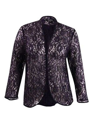 SL Fashions Women's Plus Size Lace Jacket 16W, Storm